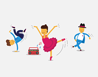 Flat dance illustrations