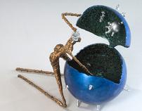 """Go With The Flow""  series of 10 steel sculptures"