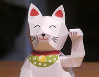 Kinetic paper model Lucky cat