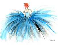 Blue Tutu Watercolor & Ink Illustration