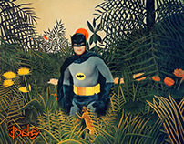 A bat man in a Rousseau jungle