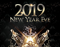 2019 NYE Eve – Black & Gold Free PSD Flyer Template