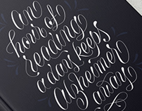 An hour of reading a day keeps Alzheimer away lettering