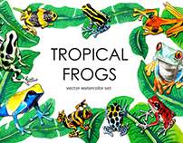 Watercolor tropical frogs