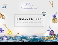 Romantic Sea Watercolor Clipart
