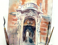 Lviv - watercolor step-by-step
