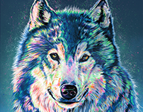 Wandering Wolf 40 in x 30 in