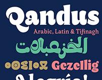 Qandus Latin, part of a triscript typeface family