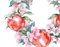 Watercolor fruits,  blooming  Apple and cherry trees
