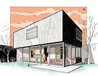 Casa Medianeras, ilustración p/ arq. Mauro Muñoz