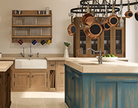 CGI - Oak & Walnut Kitchen with Distressed Island