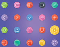 User Interface and Arrows Flat Line Icons | iOS Android