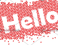 Hello the text with red love texture