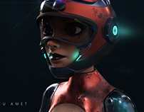 Sci-Fi Motorcyclist Woman