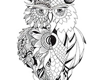 owl black n white