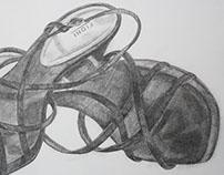 "Heels, 9 x 12"" Pencil on Paper"