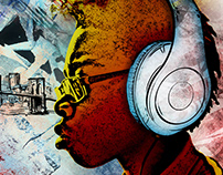 Hip Hop Headphones | Book Cover & Album Illustration