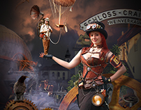 Poster for a steampunk event