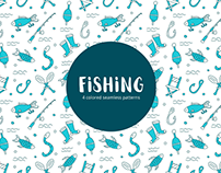 Fishing Vector Free Seamless Pattern