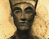 Nefertiti watercolor and coffee.