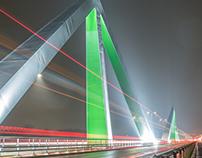 Night photos Odins bridge. Odense, Denmark.