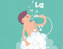 Man singing while taking a shower - Illustration