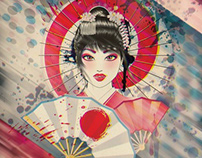 Grunge portrait of Geisha
