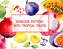Seamless pattern with tropical fruits.