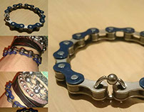 Bracelets fabriqués avec des vieilles chaînes de vélos