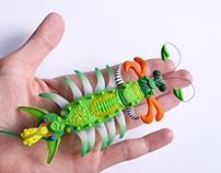 Jumping jack caterpillar - mechanical art toy