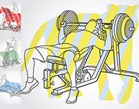 Illustration of man using fitness equipment