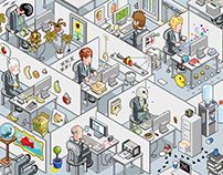 IT workers in cubicles (isometric vector illustration)