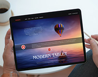 Free Person Using Modern Tablet Mockup
