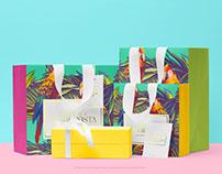 Shopping Bags with a Box & Invitation Card PSD Mockup