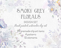 Design set in smoky grey florals