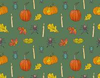 Autumn Halloween vector pattern