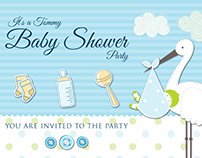 Baby Shower Party Postcard Template
