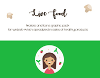 Live Food.  Avatars and icons graphic pack.