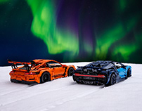 LEGO Bugatti Chiron & Porsche GT3 RS under Arctic Light