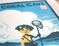 The Coral Cave - Handmade linocut print
