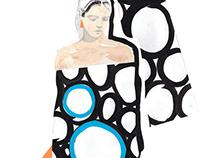 P A P E R C U T / Stripes & Dot Dresses Magazin Illu
