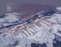 SKETCH - northwest mountains from plane
