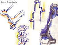 Furniture and lighting derived the form of a castle
