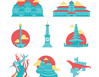 Indonesian Landmark Vector Icons