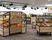 Bakery zone merchandising and furniture design.