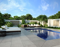 Cozy Modern-styled Backyard Pool and Lounge Zone