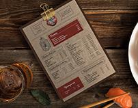 Craft menu design for hookah-bar cafe