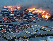 City after a tsunami attack in Japan