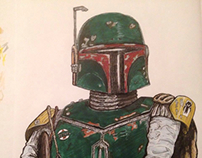 Boba Fett , Star Wars pen drawing