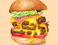 BIG juicy cheeseburger - food illustration